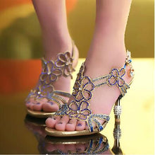 Floral Crystal Rhinestones 8Cm High Heels Womens Shoes - Shoes