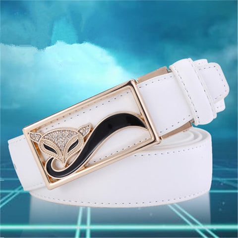 Fox Buckle Leather Belts for Women 4 Colors