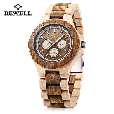 Bewell 116B Men Quartz Watch Date Day 24 Hours Display Luminous Wooden Wristwatch - Men Fashion Watches