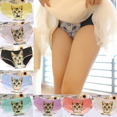 Women Cotton Panties Cute 3D Printed Cat - Panty