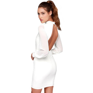 Elegant Longsleeves Bare Back Mini Dress