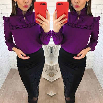Lantern Sleeve Casual Top $17.80 - Purple / S - Blouses & Shirts