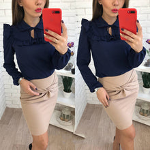 Lantern Sleeve Casual Top $17.80 - Navy Blue / S - Blouses & Shirts