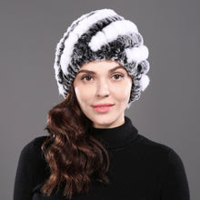 Real Natural Rabbit Fur Winter Beanie Hat