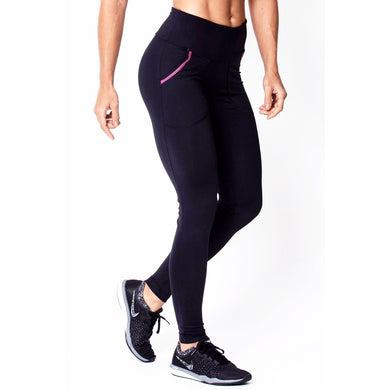 Black Leggings With Pink Pocket (Ships From Usa) - Women - Apparel - Activewear - Leggings