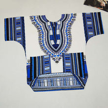 Classic Dashiki Tops - White Blue / One Size - Africa Clothing