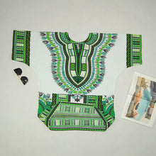 Classic Dashiki Tops - White Green / One Size - Africa Clothing
