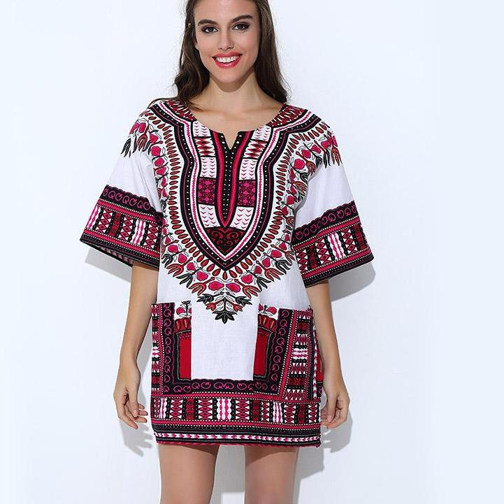 Classic Dashiki Tops - White Rose / One Size - Africa Clothing