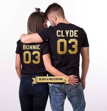 Bonnie & Clyde Matching Couple T-Shirts - Bonnie Black Gold Tx / S - T-Shirts