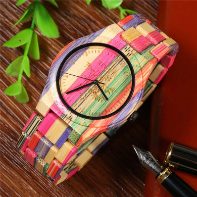 Unisex Wood Watch With Bamboo Band - Colormix - Watch