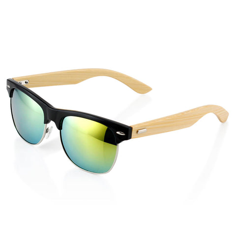 Gearonic Fashion Stylish Half Frame Vintage  Wooden Sunglasses