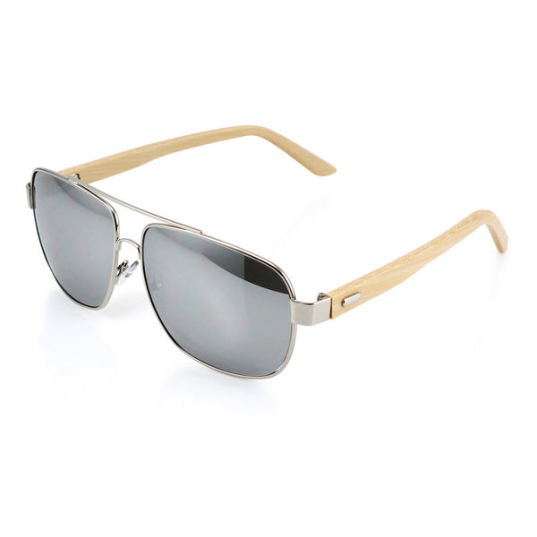 Gearonic Vintage Wooden Mirrored Fashion Aviator Sunglasses