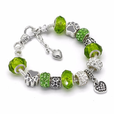 Crystal Dog Paw Charm Bracelet (Free With Purchase Of Any Item) - Greenpaw - Bracelet