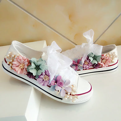 Womens Handmade Custom Floral Canvas Sneakers - 1 / 5 - Womens Vulcanize Shoes