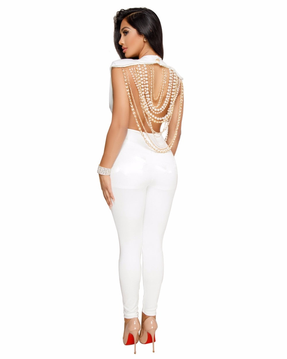 Pearl Chain Backless Jumpsuit - White / S - Jumpsuits