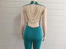 Pearl Chain Backless Jumpsuit - Jumpsuits