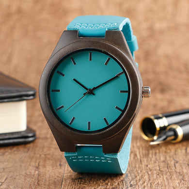 Unisex Leather Bamboo Wood Watch - Turquoise - Watch