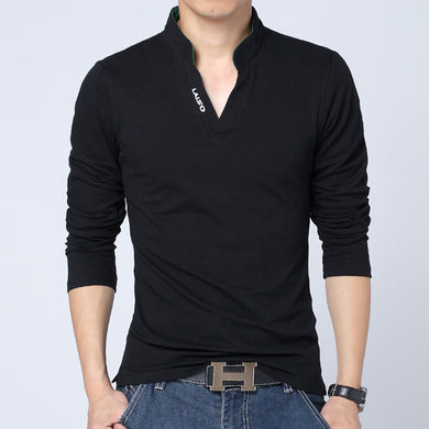 Mens V-Neck Slim Fit Long Sleeve Casual Shirt