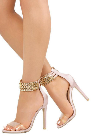 RILEY172 BLUSH CLEAR OPEN TOE CHAIN ANKLE STILETTO HEEL