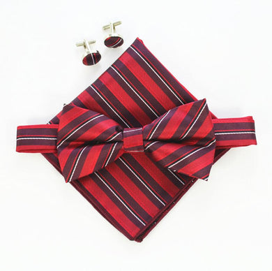 Mens Bow tie Cufflinks Pocket Squares Set (Buy 1 Take 1) - Hamarin i2