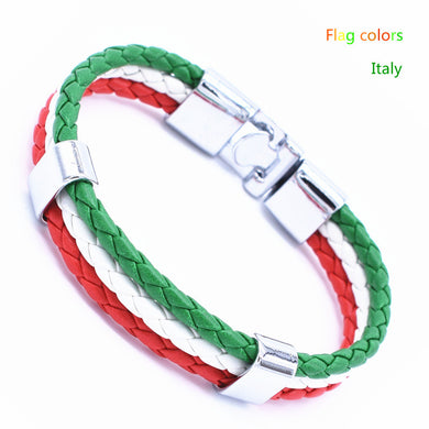 Italy France Russia Etc National Flag Rope Bracelet (21 Cm) - 1 - Bracelet