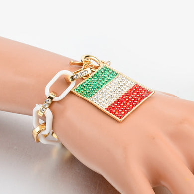Italy/us Flag Charms Bracelets For Women Gold Color Chain Bangles - Bracelet