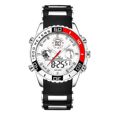 Mens Waterproof Dual Time Zone Sports Watch $29 - Red - Quartz Watches