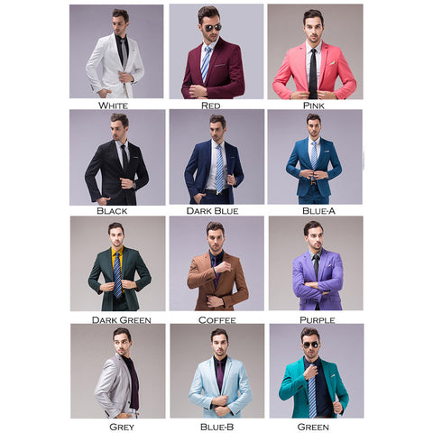Business/Wedding/Groomsmen 2 Piece Suits for Men S-4XL 12 Colors