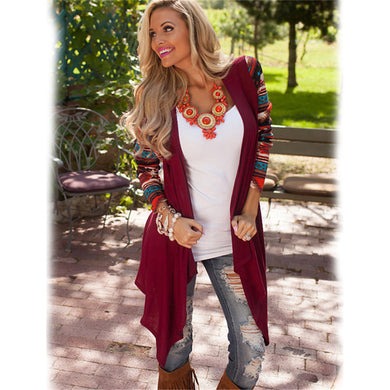 Fashion Aztec Asymmetrical Cardigan - Red / S - Cardigans
