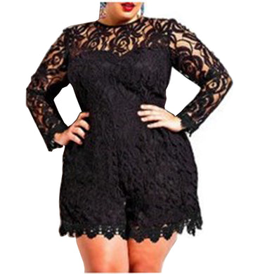 Plus Size/curvy Long Sleeve Lace Romper For Women - Rompers