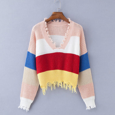 Fringe Crop Pullover - Stripe / One Size - Pullovers