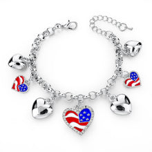 Italy/us/uk Country Flag Bracelets With Heart Pendants - Silver Heart Us - Bracelet