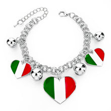 Italy/us/uk Country Flag Bracelets With Heart Pendants - Silver Heart It - Bracelet