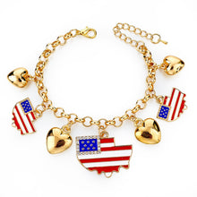 Italy/us/uk Country Flag Bracelets With Heart Pendants - Gold Boat Us - Bracelet