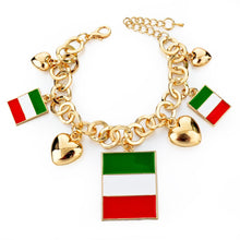 Italy/us/uk Country Flag Bracelets With Heart Pendants - Gold Square It - Bracelet