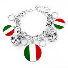 Italy/us/uk Country Flag Bracelets With Heart Pendants - Silver Round It - Bracelet