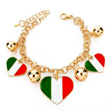 Italy/us/uk Country Flag Bracelets With Heart Pendants - Gold Heart It - Bracelet