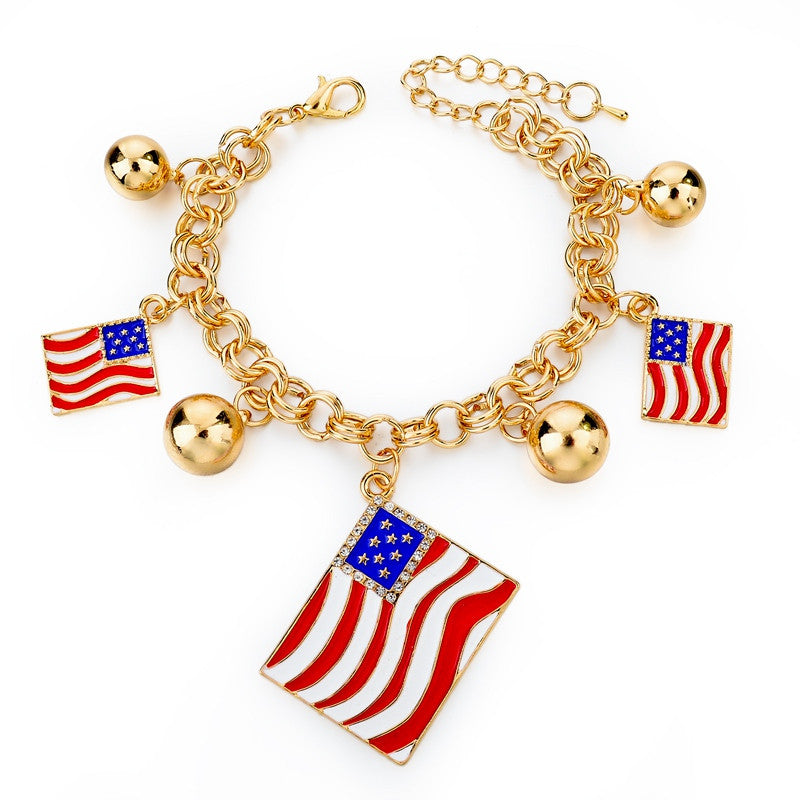 Italy/us/uk Country Flag Bracelets With Heart Pendants - Gold Square Us - Bracelet