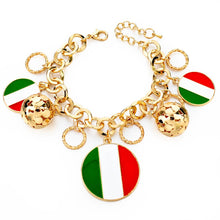 Italy/us/uk Country Flag Bracelets With Heart Pendants - Gold Round It - Bracelet
