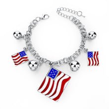 Italy/us/uk Country Flag Bracelets With Heart Pendants - Silver Square Us - Bracelet