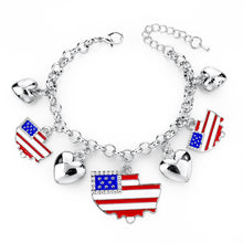 Italy/us/uk Country Flag Bracelets With Heart Pendants - Silver Boat Us - Bracelet