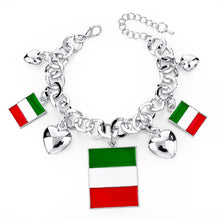 Italy/us/uk Country Flag Bracelets With Heart Pendants - Silver Square It - Bracelet