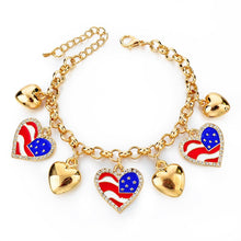 Italy/us/uk Country Flag Bracelets With Heart Pendants - Gold Heart Us - Bracelet