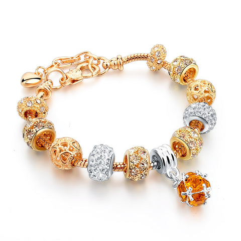 Crystal Heart Charm & Bangles Pandora Style - Andre's Store