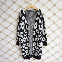Printed Knitted Long Cardigan - Black / S - Cardigans