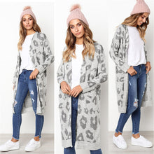 Printed Knitted Long Cardigan - Gray / S - Cardigans