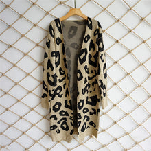 Printed Knitted Long Cardigan - Khaki / S - Cardigans