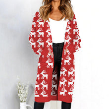 Printed Knitted Long Cardigan - Elk / S - Cardigans