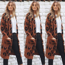 Printed Knitted Long Cardigan - Coffee / S - Cardigans