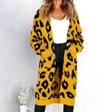 Printed Knitted Long Cardigan - Yellow / S - Cardigans
